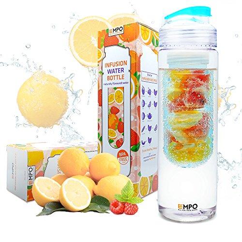 Trinkflasche mit früchtebehälter - 700ml/25oz mit kostenlosem Rezepte eBook - EMPO BPA Freies Tritan Sportflasche - Langlebig und leicht - Blau