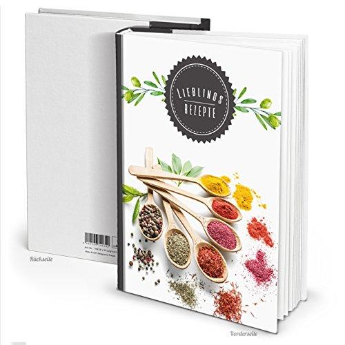Moderno Blanco y Negro Hard Cover XXL libro libro de recetas de cocina para escribir Incluso Especias Hierbas Recetas Para Escribir y Decora con registro y 164vaciado en blanco páginas.