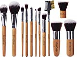EmaxDesign Makeup Brush Set Professional 12 Pieces Bamboo Handle Premium Synthetic Kabuki Foundation Blending Blush Concealer Eye Face Liquid Powder Cream Cosmetics Brushes Kit With Bag
