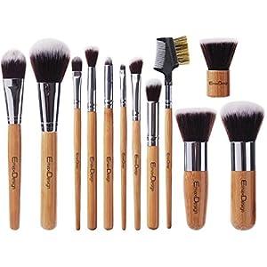 EmaxDesign Juego de brochas de maquillaje (12 piezas, mango de bambú, estuche )