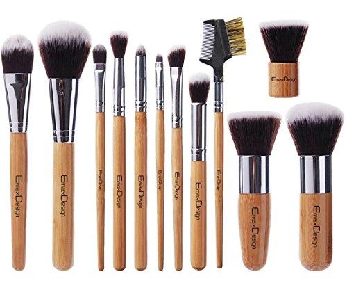 EmaxDesign Lot de pinceaux à maquillage professionnel 12 pièces avec poignée en bambou synthétique premium. Pour les fonds de teint, pinceaux à fard à joues, kabuki, à poudre, à crèmes cosmétiques et correcteur pour œil.