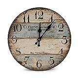 LOHAS Home Wanduhr - Clement - Holz Küchenuhr mit großem Ziffernblatt aus MDF, Retro Uhr im angesagtem Shabby Chic Design mit leisem Quarz-Uhrwerk, Ø: 30cm (Victor Hugo)
