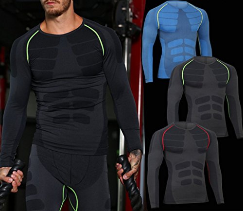 ZZLAY Herren Kompressions Longsleeves T-Shirts Dry Baselayer Sportbekleidung Hosen Set Blau & grün-Set