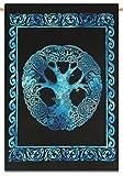 Sophia Art Keltischer Baum des Lebens Gobelin Multi gebatikt Wandteppich Indischer an der Wand-Poster mit Yoga-Matte (blau)