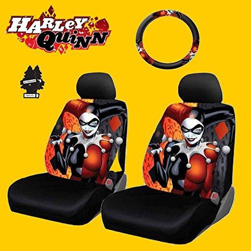 Nuovo design 6pezzi DC Comic Harley Quinn coprisedili per auto e copertura del volante set con deodorante