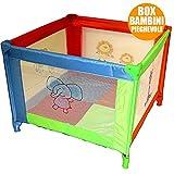 Bakaji Box Recinto con Rete Area Giochi per Bambini Salvaspazio Pieghevole da Viaggio 90 x 90 x 65 cm