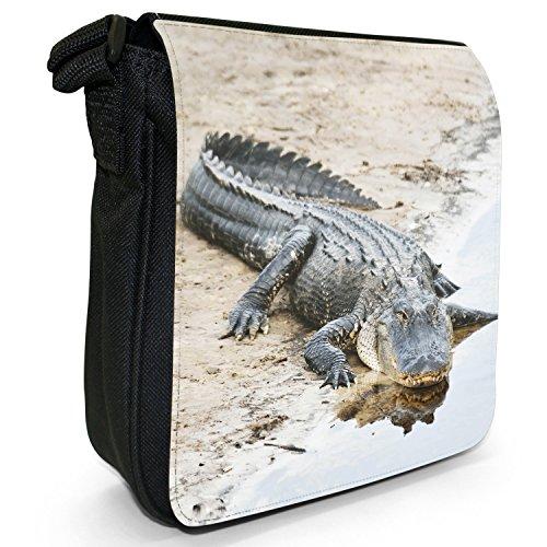 Caimani, coccodrilli &-Borsa a tracolla in tela, colore: nero, taglia: S Nero (Alligator Basking In The Sun)