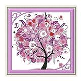 KAMIERFA Glückliche Baum Designer Vorgedruckt Kreuzstich-Set Stickpackun Pink