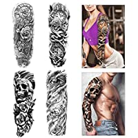 Konsait Full Arm Temporary Tattoo, 4 Sheets Large Size Temporary Tattoo Transfer Stickers Black Tattoo Sleeve Rose Skull Fake Arm Tattoos for Man, Women, Waterproof, Removable, Realistic