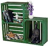 LAUBLUST 3er Set Sehr Große Vintage Holzkisten - 50x40x30cm, Grün Lackiert, Unbenutzt | Möbel-Kiste | Wein-Kiste | Obst-Kiste | Apfel-Kiste | Deko-Kiste aus Holz
