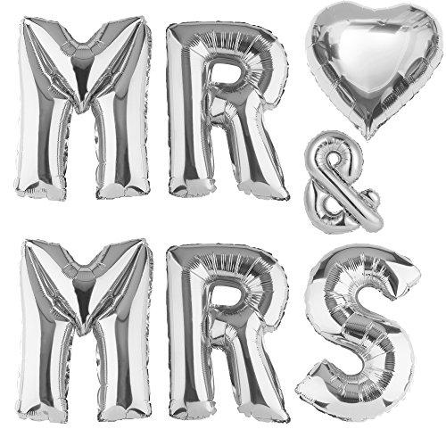 "ballonfritz® Ballon MR & MRS Herz Set in Silber - XXL 40""/102cm - Folienballons als Hochzeit Geschenk, Party Dekoration oder Überraschung"