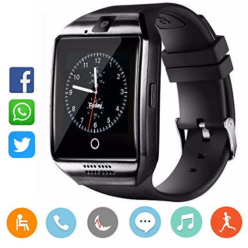 CatShin Reloj Inteligente-Bluetooth Smartwatch Android Samsung Sony IOS Con Ranura para tarjeta SIM Reloj de Deporte  cronómetro Podómetro Anti-Pérdida Reloj Deportivo Smart Watch Para Hombre Negro
