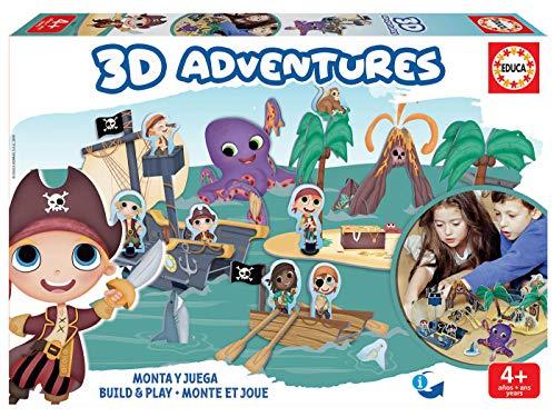 Educa Borrás-3D Adventures Piratas Puzzle 3D, Color Variado (18227)