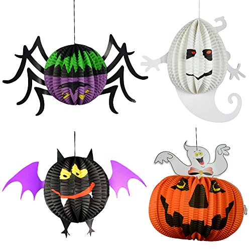 4 dreidimensionale Kugel Laune Ghost, Fledermäuse, Kürbisse, Anhänger Halloween Spinne Garten Dekoration Windlicht Yard Wohnung Party-Accessoires für (Dekorationen Halloween Yard)