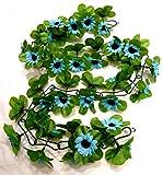 CBK-MS® Blumengirlande Sonnenblumen blau ~ ca. 120 cm ~ zum verschönern Ihres Fahrrades oder Ihrer Wohnung