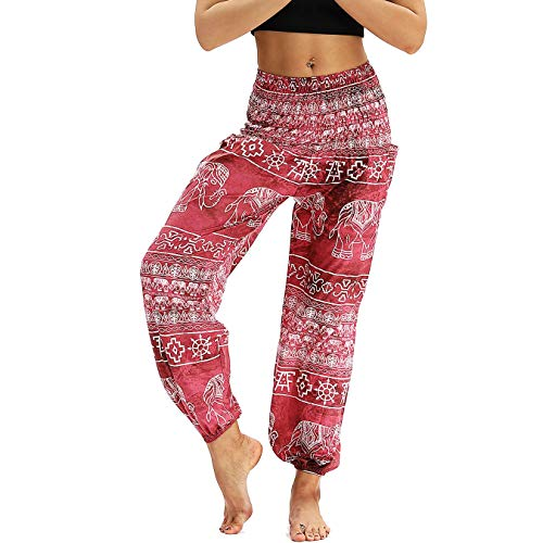 bed7d702c Nuofengkudu Women s Harem Pants Thai Hippie Baggy Boho Vintage Patterned  High Waist Smocked Waist Thin with