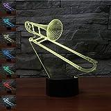 Illusione Ottica 3D Trombone Luce Notturna 7 Colori Mutevoli USB Potere Toccare Cambiare Arredamento Lampada LED Lampada da Tavolo Bambini Brithday Natale Regalo