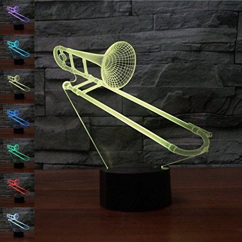 Kreative 3D Posaune Lampe Nacht Licht USB Power 7 Farben Amazing Optical Illusion 3D LED Lampe Formen Kinder Schlafzimmer Geburtstag Weihnachten Geschenke