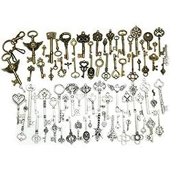 Amupper - Juego de 80 llaves, diseño de esqueleto, bronce antiguo y plata, con 1 llavero, hechas a mano, para regalos y manualidades