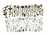 Amupper Lot de 80clés bronze ancien avec un porte-clés, pendentifs faits main bronze et argentés, bijoux de mariage, confection de bijoux