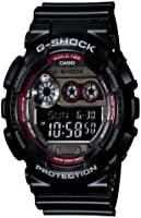 G-Shock GD-120TS-1ER Men's Quartz Watch with Black Dial - Digital Display and Black Resin Strap