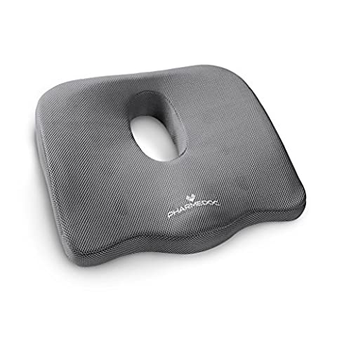 PharMeDoc Coccyx Seat Cushion (Gray) - Extreme Orthopedic Comfort Foam Pad - For Auto, Home, Office - 2015 Model Newly Designed