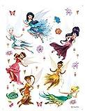 1art1 75267 Disney Fairies - Tinkerbell, Silberhauch, Vidia, Klara, Rosetta, Emily, Periwinkle Wand-Tattoo Aufkleber Poster-Sticker 85 x 65 cm