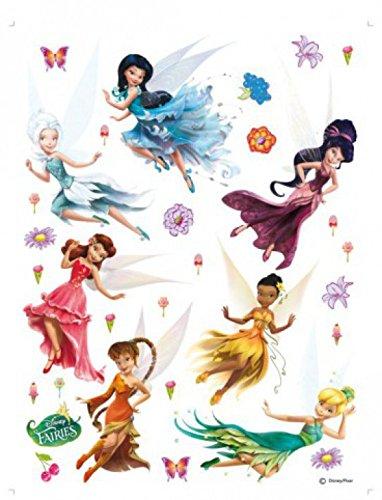 1art1 75267 Disney Fairies - Tinkerbell, Silberhauch, Vidia, Klara, Rosetta, Emily, Periwinkle Wand-Tattoo Aufkleber Poster-Sticker 85 x 65 ()