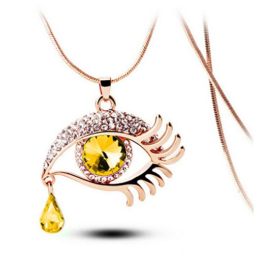 DOLDOA Magic Eye Crystal Wimpern Halskette Lange Pullover Kette Necklace Choker Collier Frauen Mädchen Freundin Mutter Tochter (Mehrfarbig - 2, Länge: 23,62