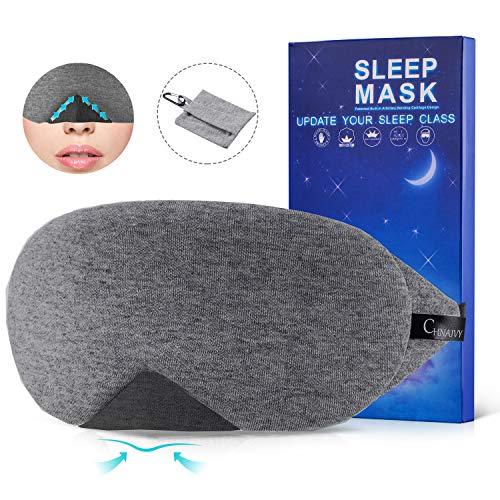 Schlafmaske Baumwoll Fraue und Herren,Chnaivy 2019 Neue Design Premium Augenmaske Nachtmaske,100% Hautfreundlich Cotton Schlafbrille,Super weich und bequem,für Reisen,Schlaf und Schichtarbeit