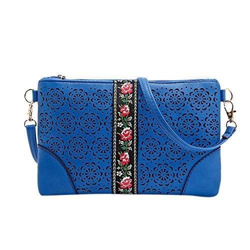 Longra Donna Sacchetto di spalla casuale del sacchetto della busta ricamata Blu