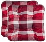 Brandsseller Stuhlkissen Sitzkissen Sitzauflage Polster für Innen- und Außenbereich - ca. 38 x 38 x 8 cm - Rot/Kariert - 2er Pack