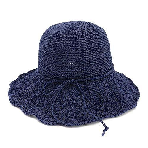 Hand Crochet-kleid (ManY hüte Hand Crochet Fine 2019 Strohhut Faltbarer Sonnenhut Sonnenschutz Fischerhut Bogen Special Fine Hand Crochet Fine (Farbe : Navy Blue, Größe : 56-58CM))