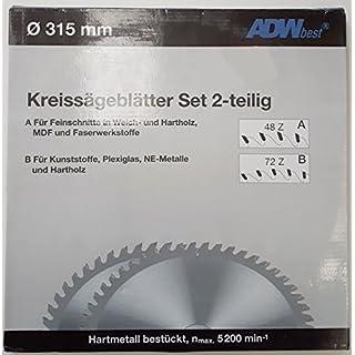 ADWbest Kreissägeblätter 315 mm, 2 Stück (48 Zähne WZ und 72 Zähne TR-F), 30 mm Bohrung