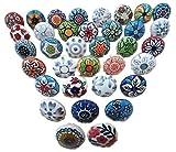 Knobsworld Lot de 30poignées de portes en céramique assorties aux motifs floraux vintage pour placard, tiroir et armoire