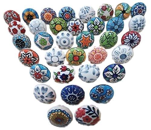 30 tiradores vintage de cerámica con distintos diseños de flores, ideales para puertas, armarios, cajones y cómodas