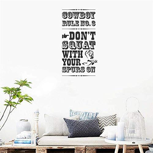 Wandtattoo Wandsticker Wanddeko für Wohnzimmer Schlafzimmer Kinderzimmer wandaufkleber blumen Cowboy-Regel Nr. 3 hocken Sie nicht mit Ihren Sporen für Kinderzimmer für Kinderzimmer