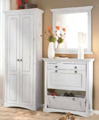 3tlg.Garderobenset weiß, Dielenset, Flurmöbel, Dielenmöbel