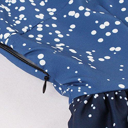Kimring Women's Retro V-Neck Sleeveless Christmas Music Theme Print Swing Dress blu/Deer