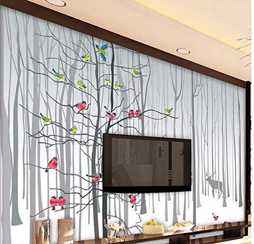 Mkkwp Benutzerdefinierte Fototapete Fantasy Wald Elch Vogel Wandbild Tapete Wohnzimmer Sofa Tv Hintergrund Modern Seamless Large-Scale Mural-450Cmx300Cm