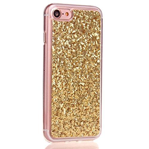iPhone 7 Strass Hülle,iPhone 7 Handyhülle,JAWSEU Luxus Cool Kreative Shiny Sparkle Pfau Feder Muster Gold Plating Crystal Klar Silikon Bling Glitzer Shiny Bumper Case Schutzhülle Diamant Strass Weich  Gold Glitzer