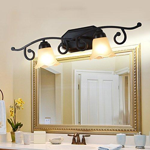 BESPD Idyllischen amerikanischen Vor dem Spiegel Mediterran Warm Glas dimmbares Licht Europa Wandleuchte für Wohnzimmer Restaurant Flur Treppe Schlafzimmer 2 Bett Lampen Kopf mit einem sehr schwach + Fernbedienung (Antik 2-licht Wandleuchte)