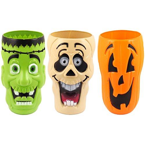 Spassprofi 3 gruslige Halloweenbecher schaurige Horror Becher für Halloween Kinderbecher