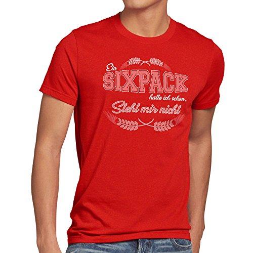 style3 Ein Sixpack hatte ich schon Herren T-Shirt steht mir nicht Funshirt Shirt Rot