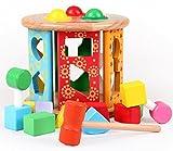 Happy cherry - Juguetes para apilar y encajar - Piezas Bloques de Construcción de madera para bebés niños niñas