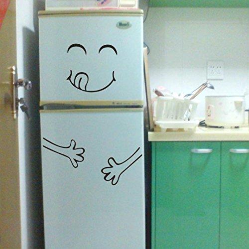 Manadlian Wandtattoo Wandaufkleber Netter Aufkleber Kühlschrank Happy Delicious Gesicht Cute Smiley Aufkleber Kühlschrank PVC Kunst Wandtattoo Home Deko (Schwarz)