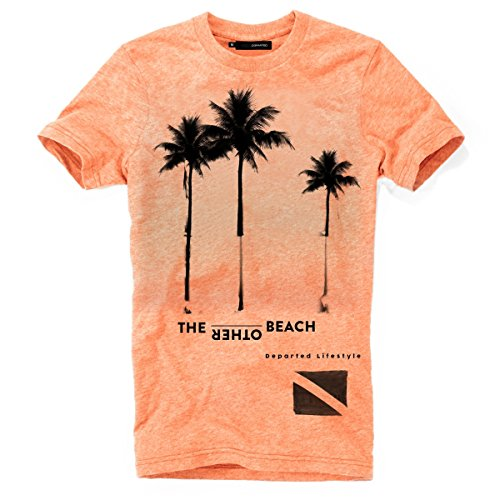 DEPARTED Herren T-Shirt mit Print/Motiv 3822-230 - New fit Größe M, Sunset orange Triblend