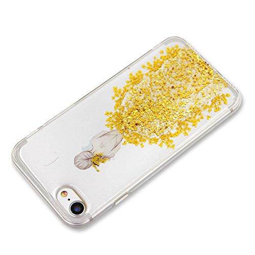 SKYXD Cover Sottile per iPhone 6/6S,Crystal Clear Gel TPU Custodia con Brillantini Bling Glitter Slim Silicone Morbida Luminosa Trasparente Argento Gonna Custodia Cellulare per Apple iPhone 6S/6 4.7 C Giallo Gonna Ragazza