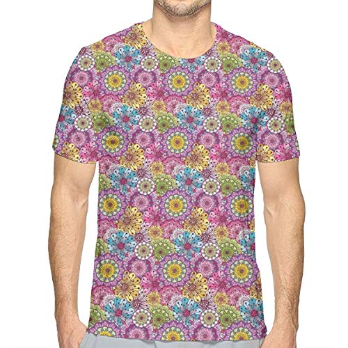 3D Printed T Shirts,Abstract Flowers of Spring Blossoming Nature Composition Vintage Romantic Bouquet L China Spring Bouquet