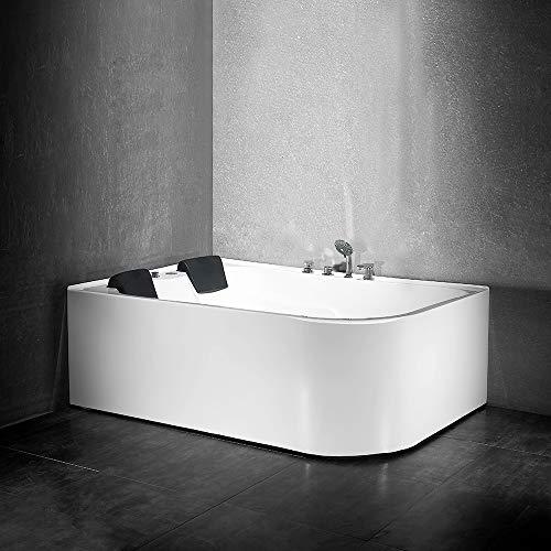 Whirlpool Badewanne Massage Eckwanne Acryl Rechteck Eckbadewanne Spa mit Schürze 170 x 120 cm Eckbadewanne (link-mit Heizung)